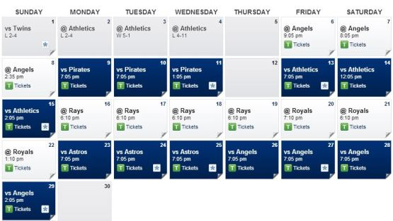 Rangers Schedule September 2013