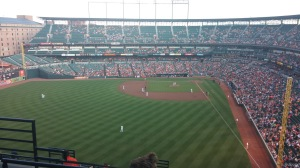 The view from the upper deck at Camden Yards