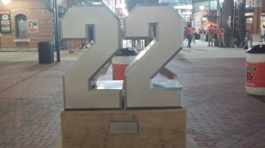 Jim Palmer's #22 outside the stadium.